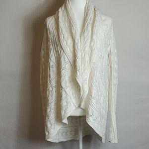 Cabi White Knit Sweater Open Cardigan NWOT